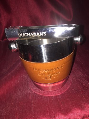 Rare Buchanan's Deluxe Leather Wrapped Stainless Steel Ice Bucket And Tongs