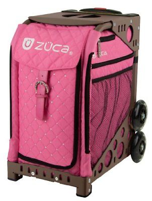 Zuca Pink Hot Insert Bag & Brown Frame with Flashing Wheels