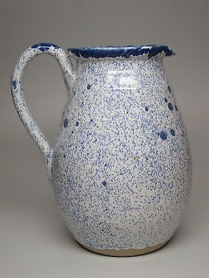 SHELTON'S Pottery Blue White Speckle Pitcher English Stoneware Signed 1992