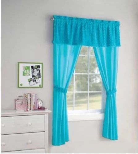 Your Zone Poodle Curtains 84in Aqua Blue wValance & Tiebacks 5 Piece