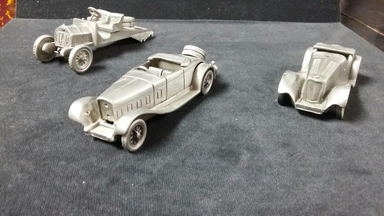 Danbury Mint Pewter Cars, lot of 3, As Is and 4 Car Descriptors