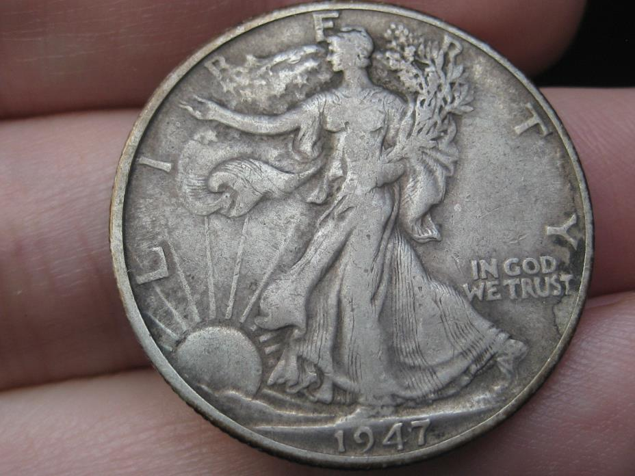 1947 D Silver Walking Liberty Half Dollar- VF Details