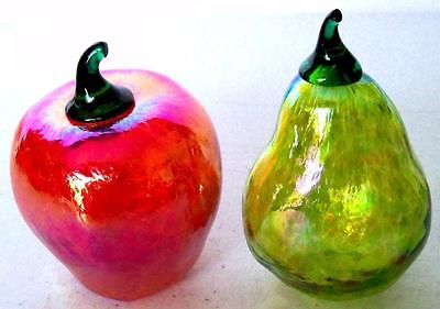 Vintage Glass APPLE & PEAR FIGURINES Collectible Art Glass Home Decor