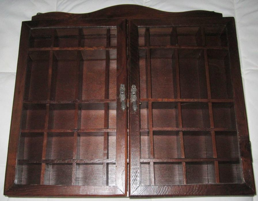 Vintage wood wall curio miniature collectible cabinet with glass doors