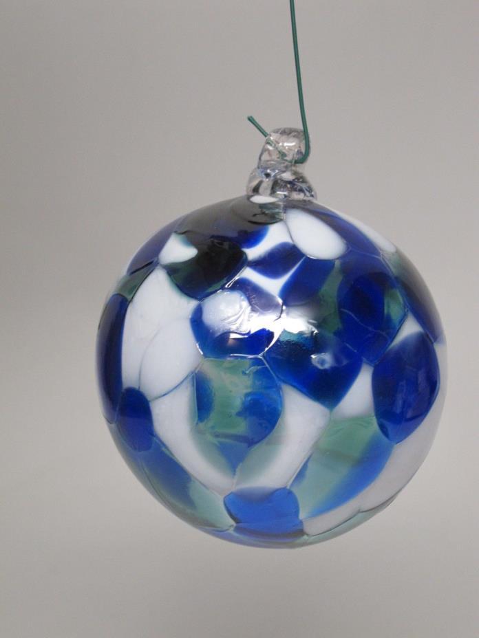 Hand Blown Art Glass Ball Ornament Orb Blue White 3.25