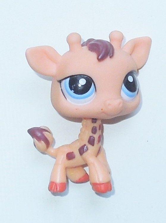 2007 Hasbro Littlest Pet Shop LPS #1488 Peach Search 'n Safari Giraffe Blue Eyes