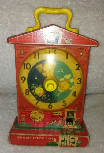 RARE VTG FISHER PRICE Music Box TEACHING CLOCK #998 School Toy RED WIND UP OLD