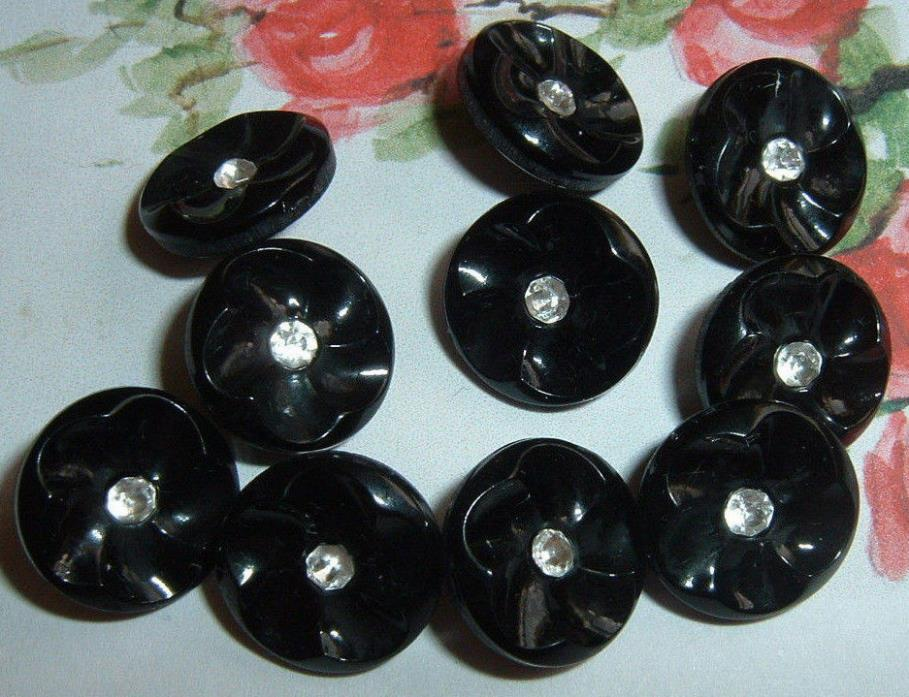 10 CUTE VINTAGE BLACK GLASS DOLL BUTTONS CUPPED PETALS WITH RHINESTONE 1/2