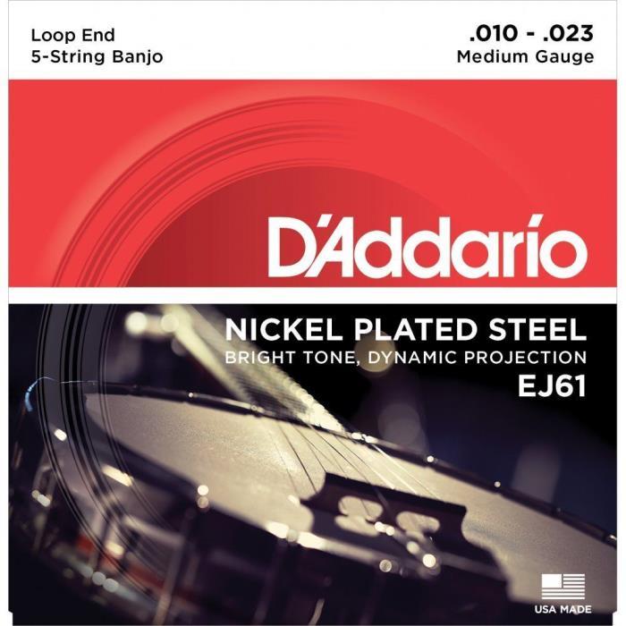 D'Addario EJ61 Loop End Banjo Strings - 5 String Medium