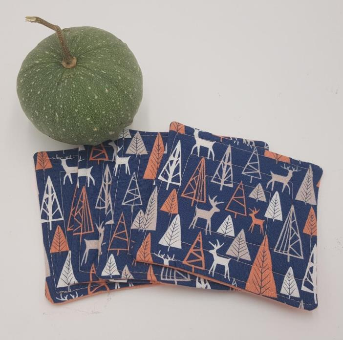 Northwest Coral Quilted  Coasters - Set of 4 and Free Shipping!