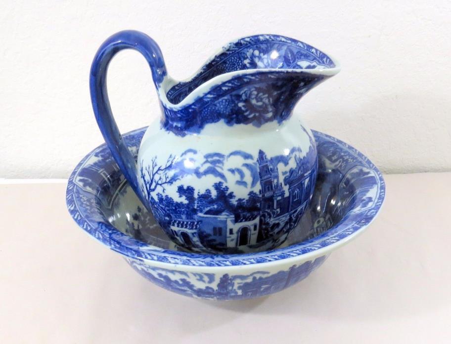 Porcelain Chinese Flow Blue Ewer & Basin - Pitcher - 1950's Era