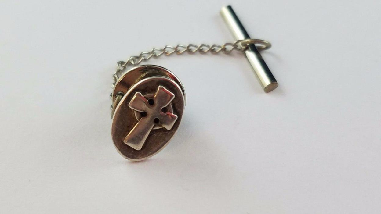 RARE RETIRED James Avery Oval Celtic Religious Cross Tie Tack Sterling Silver