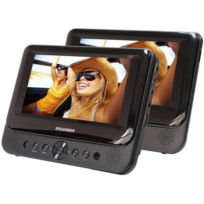 Portable DVD Player Dual Screen Stereo Speakers Travel LCD Display Refurbished
