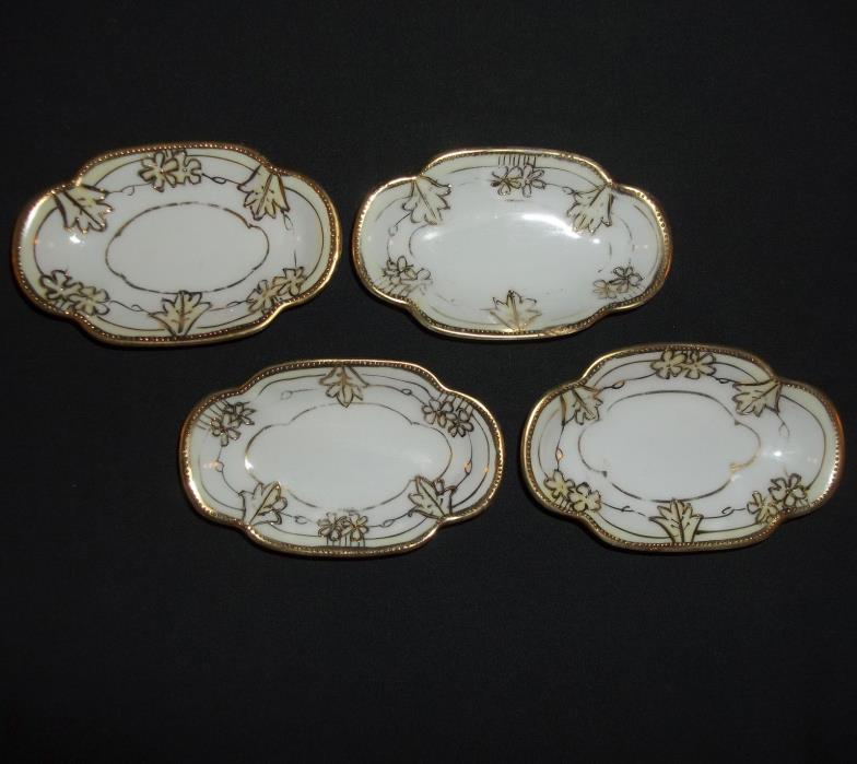 4~Green M Nippon Cream/White Heavy Gold Encrusted Individual Candy Nut Dishes