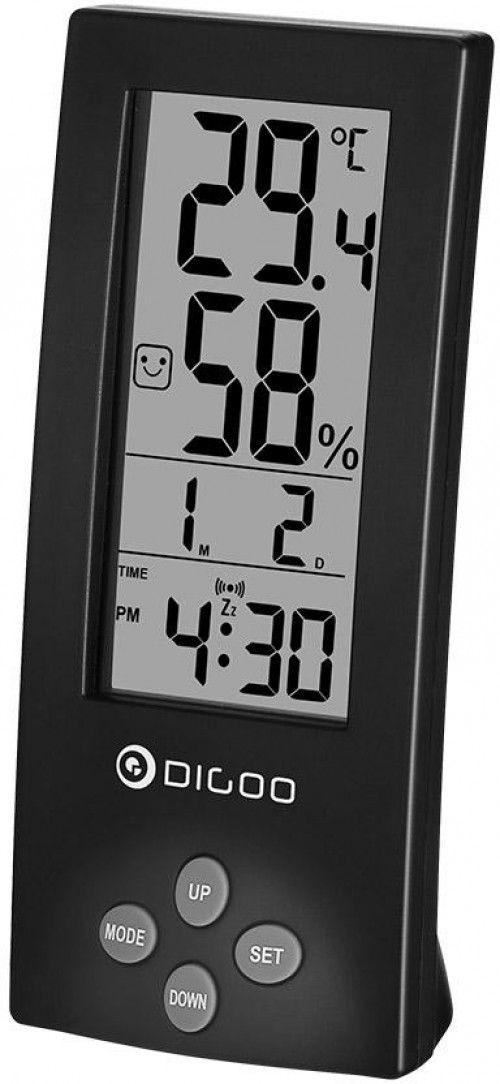 Digoo DG-TH1177 Digital Transparent Screens Black Hygrometer Thermometer Sensor