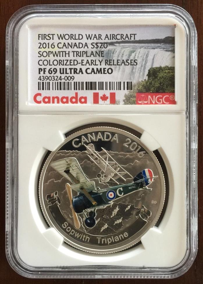 2016 Silver Canada Sopwith Triplane, 1 Oz Silver, $20 Dollars, NGC PF69 UCAM ER