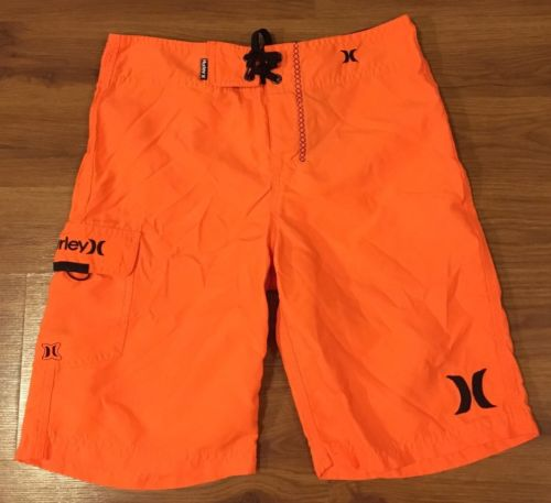 Boys Hurley swim trunks Board Shorts, orange and Black size 14