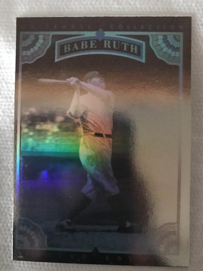 Babe Ruth reflector baseball card with the crowd in back of him. Grade A