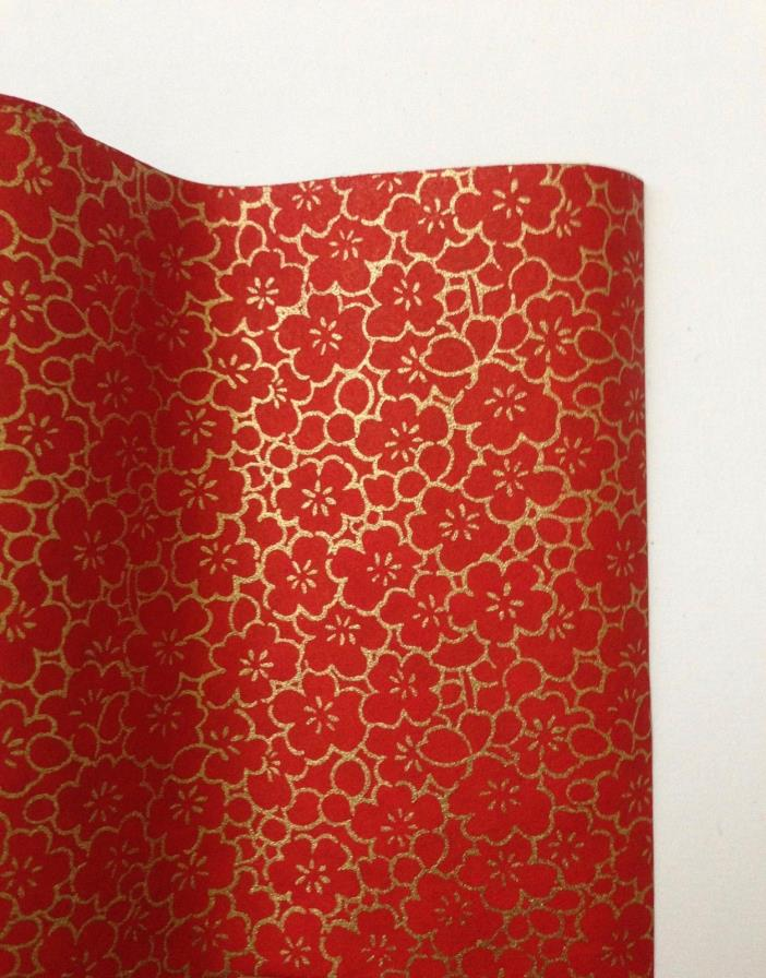 Japanese Yuzen Washi Paper Roll Reversible Red Gold Flower Sakura 45cm X 30cm