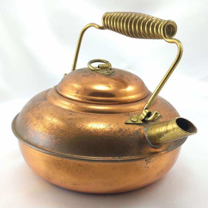 Vintage Copper Finish & Brass Curled Handle & Spout Teapot 5 Cup