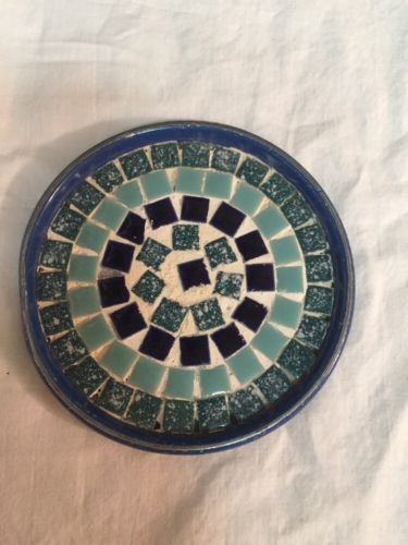 Hand Made Outdoor Tiled Paint Can Lid Coaster Blue 4.5