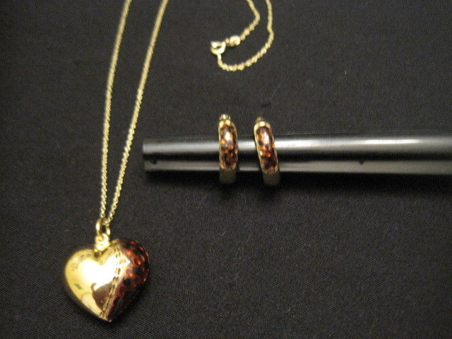 Gold over Sterling Silver Brown Enamel Heart Necklace and Hoop Earring Set HAN