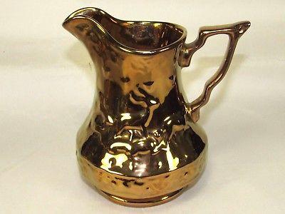Wade Pottery Copper Luster Pitcher,Embossed Stag Deer,Antique Vintage Primitive