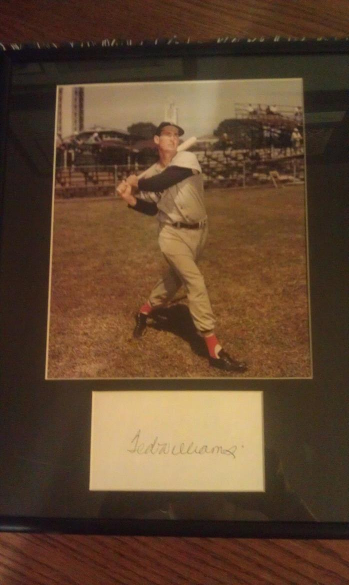 TED  WILLIAMS   AUTOGRAPHED  3X5  CARD   FRAMED  WITH  8X10  PHOTO