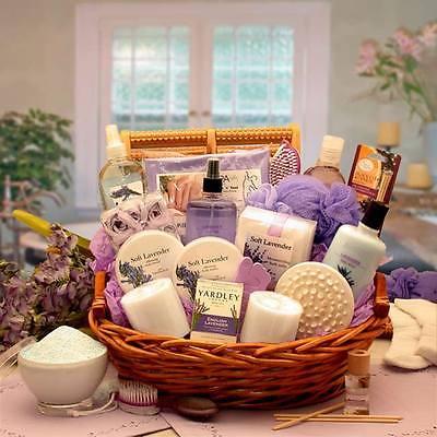 Ladies Spa Gift Basket w Lavender - birthday wife anniversary girlfriend