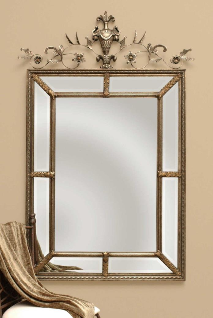 XL LARGE TUSCAN FRENCH GOLD SILVER GRAY WASH LE VAU BEVELED WALL MIRROR 60