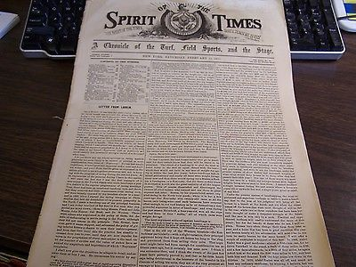 ANTIQUE - SPIRIT OF THE TIMES - NEW YORK SATURDAY FEBRUARY 11, 1871 - EXCELLENT