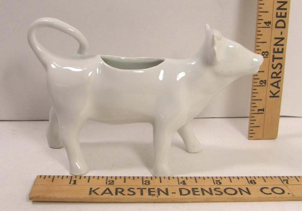 WHITE PORCELAIN FIGURAL COW MILK PITCHER CREAMER MADE IN FRANCE VGC