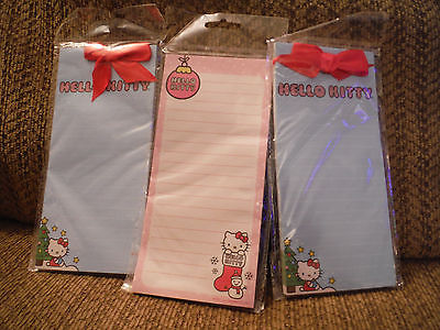 NEW Lot of 3 Sanrio Hello Kitty Memo Pads Shopping Lists Magnetic - 60 Sheets Ea