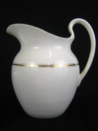 Antique White & Gold Porcelain Water Pitcher Jug Vase