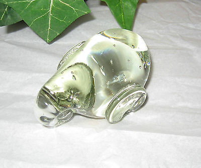 Clear Heavy Art Glass Elephant Small Trapped Bubbles Paperweight Animal Figurine
