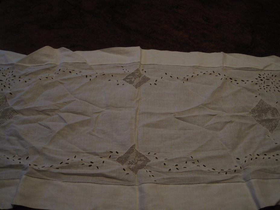 Antique Table Runner White Cotton Embroidered With Birds /Deer Broderie Anglaise