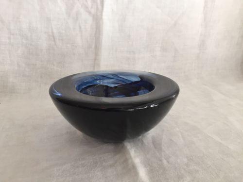 Kosta Boda Sweden Veined Blue Atoll Bowl Candle Holder original label
