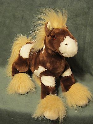 ANIMAL ALLEY Plush Floppy HORSE PONY Paint Pinto Brown Tan White 14