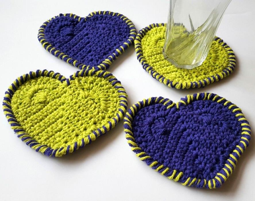 Crochet Heart Shaped Cotton Coaster Set of 4 Valentine's Day Lime Green Purple
