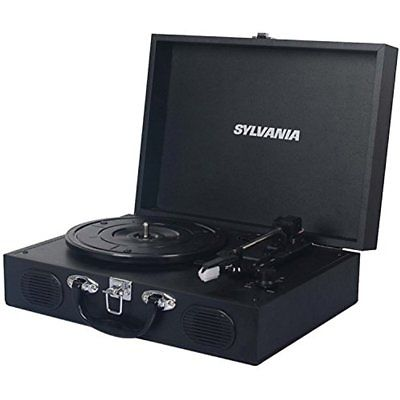 Usb Portable Turntable Vinyl Record Player Black Stereo System Vintage Gifts
