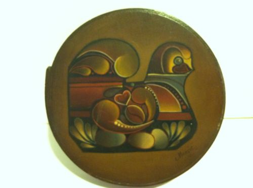 Bentwood WOOD BOX Round Pantry Handpainted Tole Folk Art Bird Signed By Margie