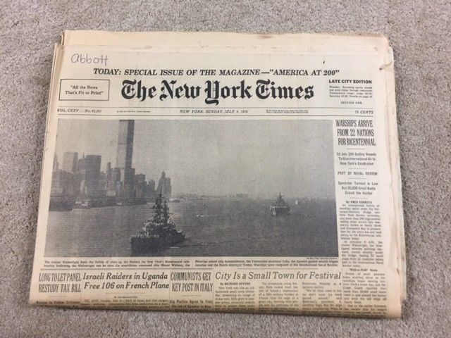 July 4 1976 New York Times DECLARATION INDEPENDENCE Issue w/ SOME INSERTS-A11