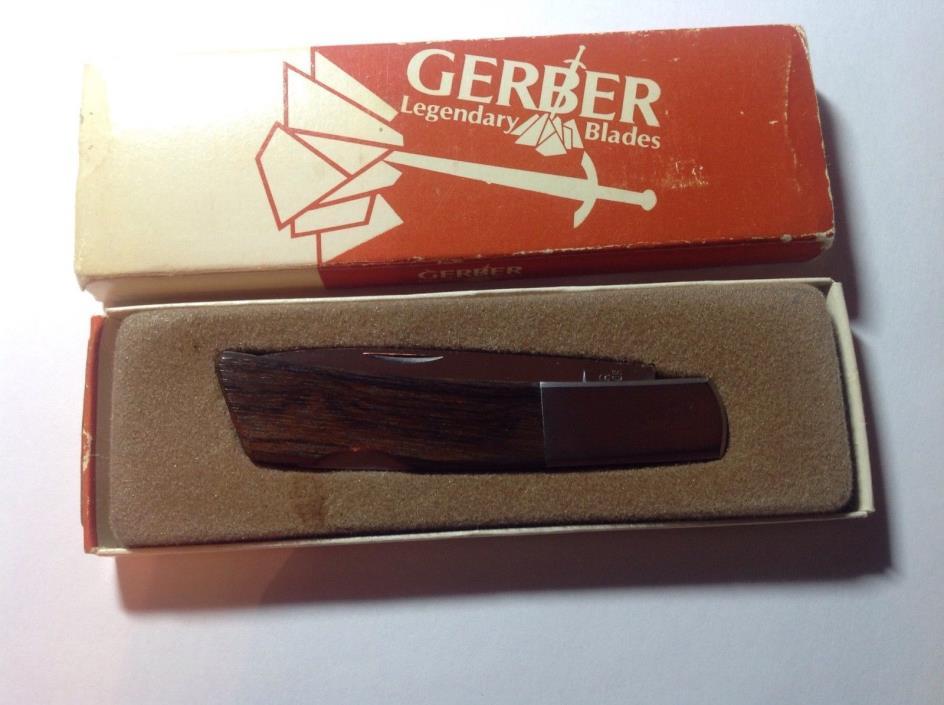 Gerber Silver Knight Sakai Japan Wood Folding Pocket Knife