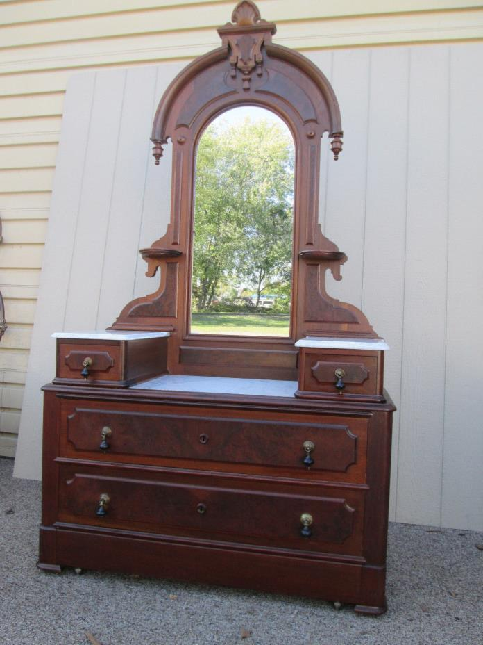 58629 Antique Victorian Marble Top Dresser Chest with Mirror