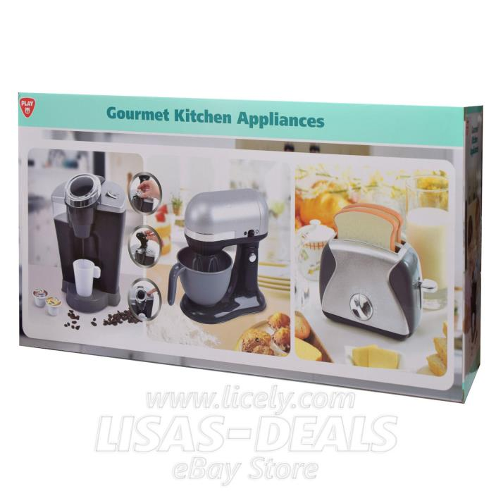 New! PLAYGO Pretend Play Gourmet Kitchen Appliance 3 PC Set Black and Gray