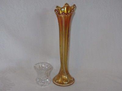 Vtg Iridescent Orange Marigold Glass Vase & Pressed Clear Glass Toothpick Holder