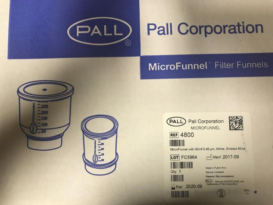 Pall MICRO FUNNEL #4800- MicroFunnel™ Disposable Filter Funnels, Pall Laboratory