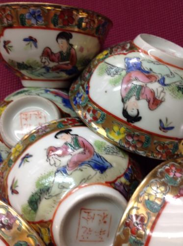 Vintage Chinese mini soup/rice bowls trimmed in gold