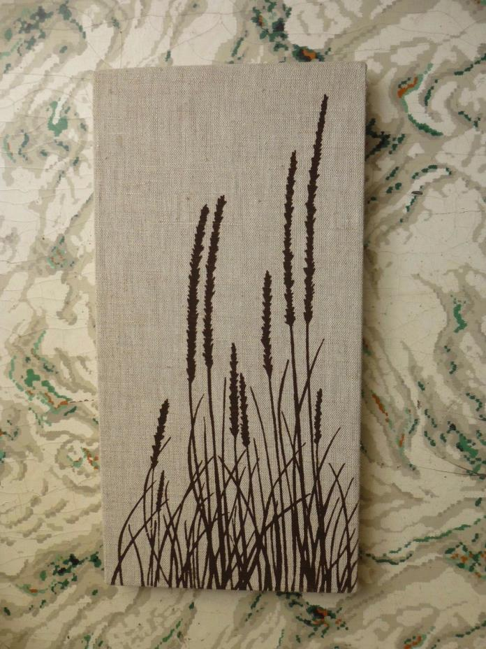 MARUSHKA CATTAIL BULRUSH GRASS VTG MID-CENTURY SILK SCREEN FABRIC ART PRINT