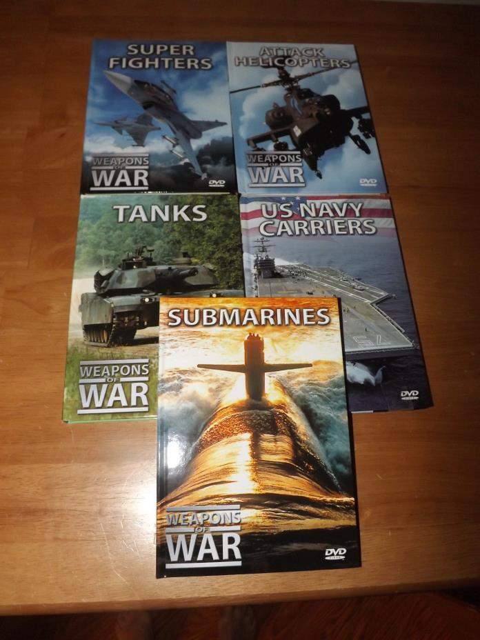 LOT 5 WEAPONS OF WAR DVDS & BOOKLETS FIGHTERS, TANKS, HELICOPTERS, NAVY,SUBS